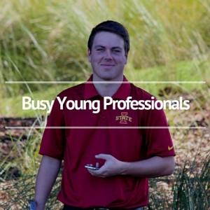 Busy young adult golfer